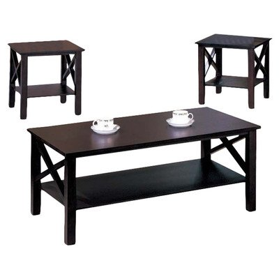 3 Pc. Kings Brand Cherry Finish Wood X Style Casual Coffee Table & 2 End Tables Occasional Set