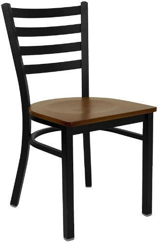 HERCULES Series Black Ladder Back Metal Restaurant Chair – Cherry Wood Seat [XU-DG694BLAD-CHYW-GG]