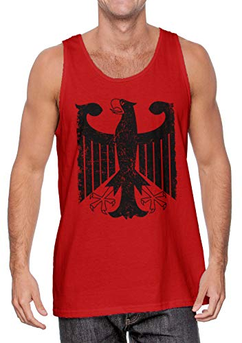 German Eagle Coat Of Arms - German Eagle - Coat of Arms Deutschland Men's Tank Top (Red, Large)