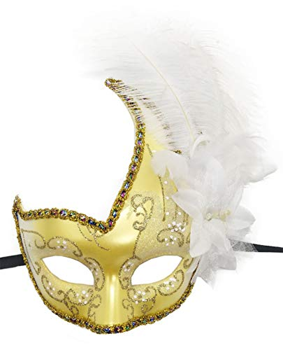 Women's Feather Masquerade Mask Venetian Halloween Mardi Gras Costumes Party Ball Prom Mask (ZA Gold White)