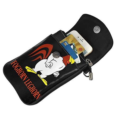 HYJUK Mobiltelefon crossbody väska Foghorn Leghorn Looney låtar liten crossbody mobiltelefon handväska Pu mini messenger axelväska plånbok för kvinnor