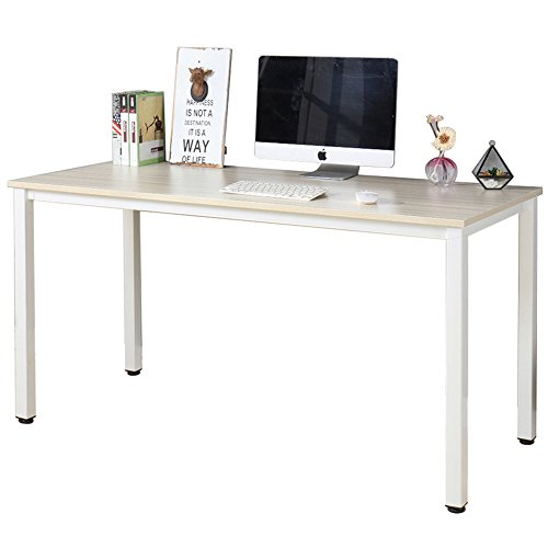 "Dland Luxurious Computer Desk 55"" Large Size Home Office Decent PC Laptop Desk Studying Writing Table Modern Workstation, Maple"