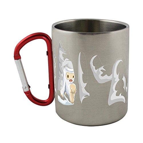 Stainless steel mug with carabiner handle with Avatar Wardrobe Shirt Xmas Yeti (Yeti Christmas Sweater)