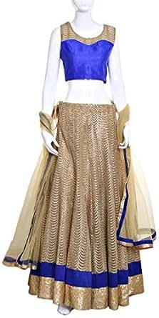 Lehenga Cholis For Women - Xl, Beige And Navy Blue
