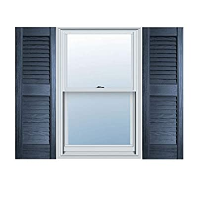 "12"" x 47"" Builders Choice Vinyl Open Louver Window Shutters, w/Shutter Spikes & Screws (Per Pair), Indigo Blue"