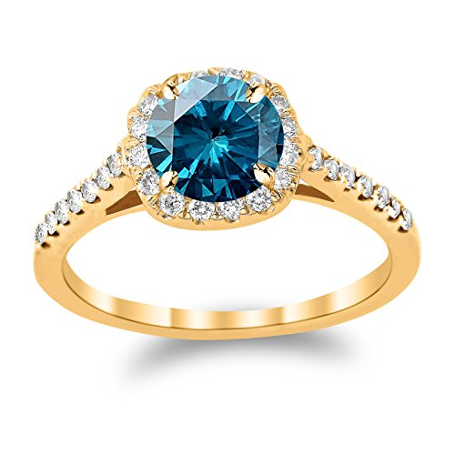 14K Yellow Gold Graduating Cushion Halo Diamond Engagement Ring with a 1 Carat Blue Diamond Heirloom Quality Center