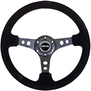 - 350mm 06 - Black Suede with Black Spokes//Yellow Stripe NRG Steering Wheel Part # ST-006S-Y 13.78 inches Deep Dish