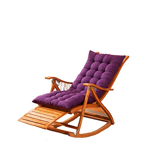 L&J Chaise Lounges,Rocking Chair Patio Lounger Chair Old Man Bamboo Folding Chairs Summer Nap Bed Load 400kg For Patio Office Beach Outdoor Swimming Pool 6 Stalls Adjustable-B