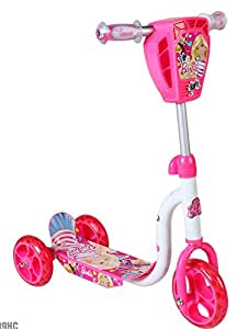 Barbie 3 Wheeled Scooter with Lights and Sound, Pink/White, 6-Inch
