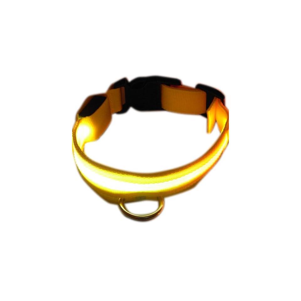 Zehui White Pet LED Flashing Light up Collar Mesh Yellow Nylon Night Safety Collar S 35 43cm Width 2.5cm