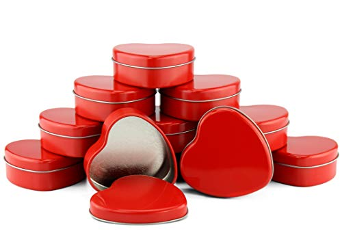 Red Heart Metal Candle Tins (12-Pack); 2.75-Inch Heart-Shaped Containers for Favors, Gifts, Candles & Arts & Crafts by Cornucopia Brands