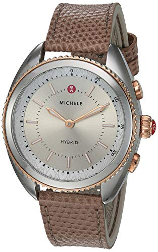 MICHELE Women's Hybrid Smartwatch Stainless Steel Quartz Watch with Leather-Lizard Strap, Pink, 17.8 (Model: MWWT32A00012