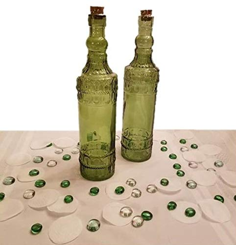 Becky's Bundles Set of 2 Vintage Green Colored Glass Bottles Vases Home Decor Wedding - 2 Large 12
