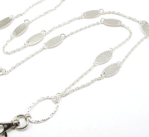 Brenda Elaine Jewelry |Real Silver Plate | Women's Fashion Lanyard Necklace for ID Badge Holders | 32 Inch Silver Chain with Silver Accents & Rear Magnetic Break Away Clasp