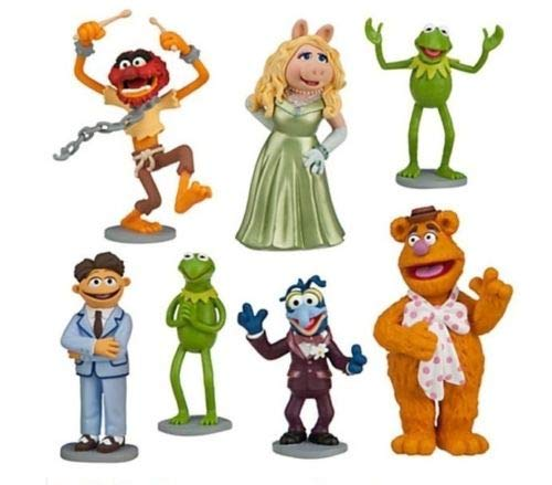 NEW Muppets Kermit Ms Piggy Playset 7 Figure Cake Topper PVC Playset Toy Cake Toppers - USA SELLER-BY NANSY