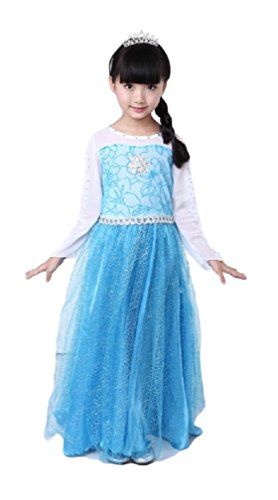 v28 Frozen Anna Elsa Deluxe Girls Costume Enchanting Dress (Age 7-8 (Heights upto 55 inches or 140 cm), Elsa - Long with Cape) -