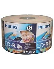 PHILIPS CD-R 80MIN/700MB 52X White Inkjet Printable (Clear Hub) Surface 50pcs Bulk Colour Wrap