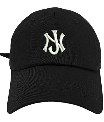 TheMonsta New Jersey Logo Style Dad Hat Washed Cotton Polo Baseball Cap (Black) - Hat Cap Jersey