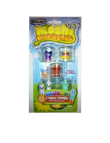 Moshi Monsters Moshlings Pencil Toppers-Dj Quack, Fifi, Rocky, Hansel & Sooki-Yaki