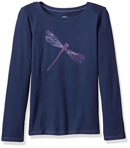 Life is good Girl's G Long Sleeve Girls Tee Dragonfly Pattern Dstblu T-Shirt, Darkest Blue, Medium (Dragonflies For Kids)