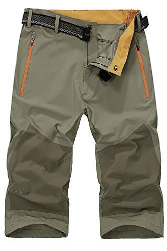 Mr.Stream Men's Classic Bermuda Beach Capri 3/4 Cropped Sweatpants Camping Quick Drying Casual Shorts XL Khaki