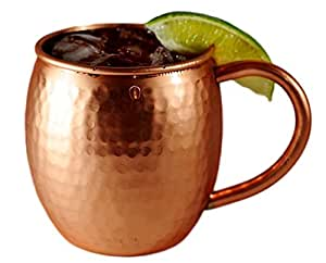 Alchemade Copper Barrel Mug for Moscow Mules - 16 oz - 100% Pure Hammered Copper - Heavy Gauge - No lining - includes FREE E-Recipe book