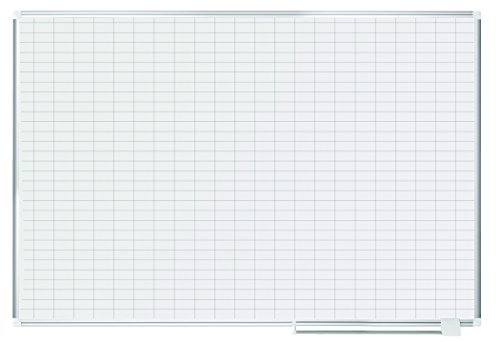 """MasterVision Planning Board Magnetic Dry Erase, 1"""" x 2"""" Grid Planner with Aluminum Frame, 48"""" x 72"""""""