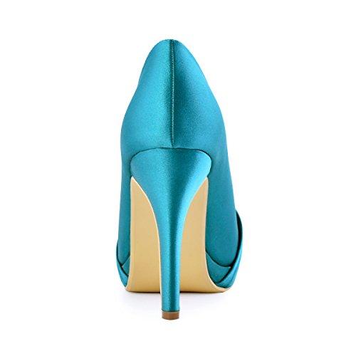 Ferme Bal Pumps Talon Plateforme Bout Mariee Sarcelle Chaussures Fleurs Strass Satin pf De Ep2015 Diamant Boucles Elegantpark Escarpins Aiguille R0AHRq