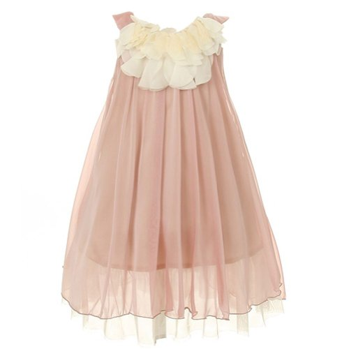 Kids Dream Coral Chiffon Floral Lace Bodice Easter Dress Girls 8
