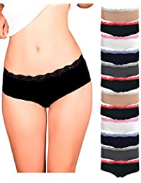 bad9a0cb0189 Womens Lace Underwear Hipster Panties Cotton/Spandex - 10 Pack Colors and  Patterns May Vary