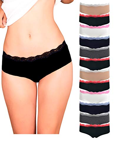 Womens Lace Underwear Hipster Panties Cotton/Spandex - 10 Pack Colors and Patterns May Vary ... (Large, Assortment ()
