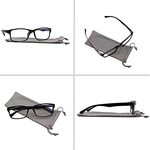 Computer Reading Glasses 0.00 Black 2 Pack Protect Your Eyes Against Eye Strain, Fatigue and Dry Eyes from Digital Gear with Anti Blue Light, Anti UV, Anti Glare, and are Anti Reflective by TruVision Readers (Image #2)