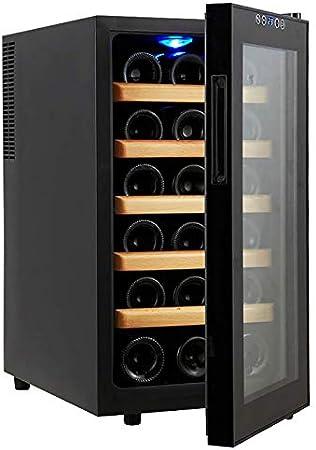 Enfriador de Vino de 18 Botellas Encimera Bodega Pantalla de Temperatura Bloqueo de luz Absorción silenciosa de Impactos Configuración táctil Externa Cocina