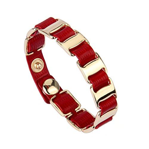 Red Rose Italian Charm Bracelet - Genuine Italian Leather Bracelet Wrap Cuff Bangle Handcrafted in Italy Handmade Jewelry for Women,girls
