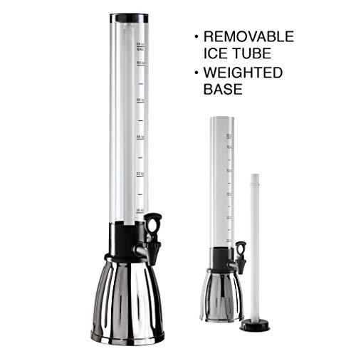 Oggi Beer Tower Dispenser with EZ-Pour Spigot, 2.75-Quart, Black