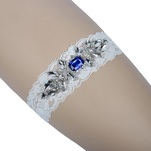VEPYCLY Women's Wedding Bridal Garter Set Belt Series Lace Crystal Rhinestone Blue Vintage Prom Gift XL