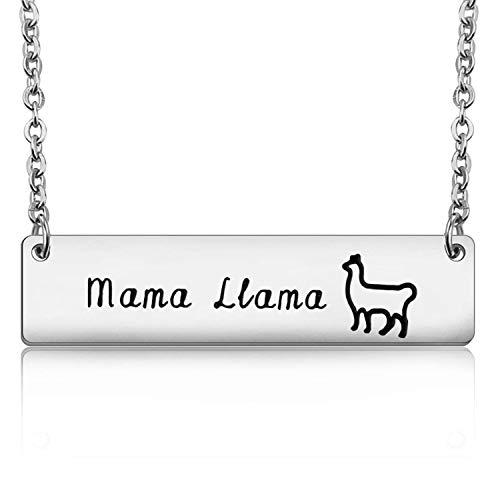 PLITI Mama Gift Mama Llama Bar Necklace Alpaca Llama Jewelry for Her (Llama -