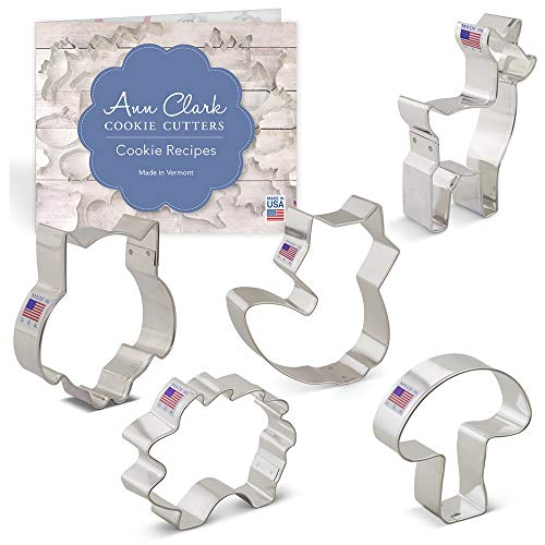 Woodland Cookie Cutter Set with Recipe Booklet - 5 piece - Cute Fox, Deer, Owl, Hedgehog and Mushroom - Ann Clark - USA Made Steel