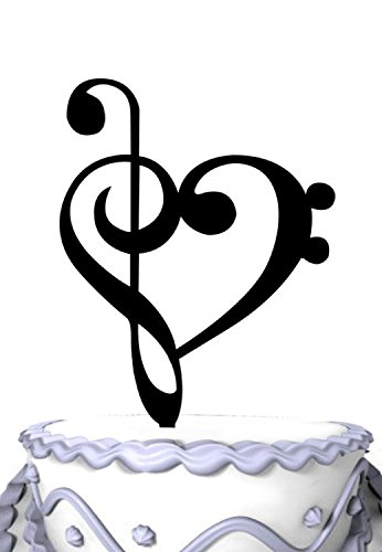 Toppers Wedding Cake Musical - Meijiafei Music Note Silhouette Wedding Cake Topper Heart Gift