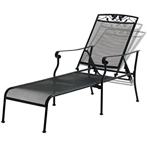 Mainstays jefferson wrought iron chaise lounge for Black wrought iron chaise lounge