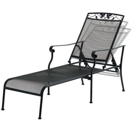 Mainstays Jefferson Wrought Iron Chaise Lounge, Black With 5-Position Adjustable Back