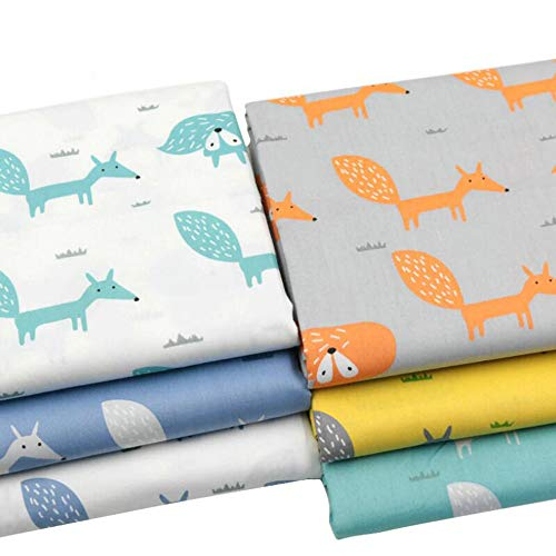 6 Pieces/Lot 160cm x 50cm Cartoon Fox 100% Twill Cotton Fabric by Meters for Patchwork Quilting Baby Bedding Sewing Cloth Material