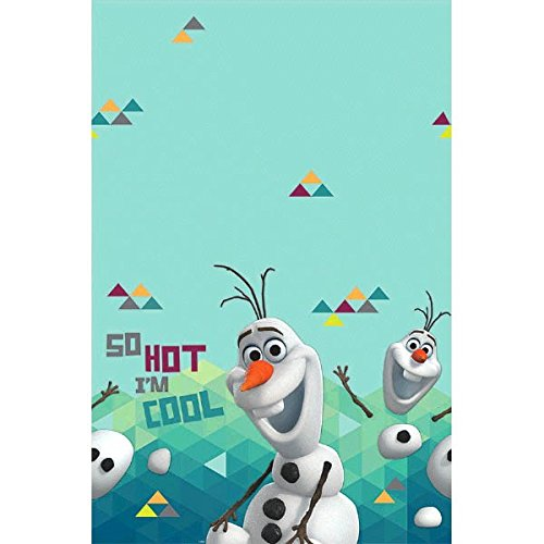 Disney Olaf Plastic Table Cover Birthday Party Tableware Decoration (1 Piece), Sky Blue/Teal, 54