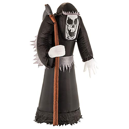 Halloween Haunters Giant 7 Foot Inflatable Beckoning Black Grim Reaper with LED Lights Indoor Outdoor Yard Lawn Prop Decoration - Blow Up Haunted House Party Display -
