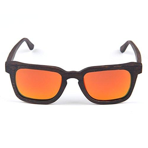 sol madera Estilo SUI Polarizadas LUI UV gafas de Rojo de Unisex retro bloqueo xFRnwSq
