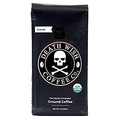 Death Wish Ground Coffee, The World's Strongest Coffee, Fair Trade and USDA Certified Organic, 16 Ounce from Death Wish Coffee Company