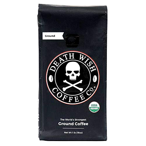 Death Wish Ground Coffee, The World's Strongest Coffee, Fair Trade and USDA Certified Organic, 16 Ounce (Best Tasting Coffee Beans In The World)