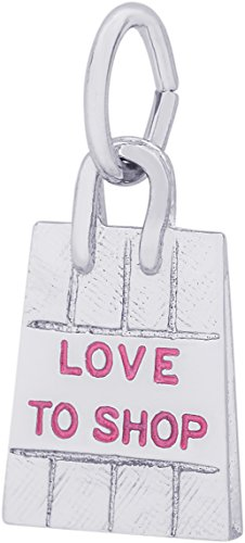 rling Silver 3-D Love to Shop Shopping Bag Charm (9 x 14 mm) (3d Silver Charms)
