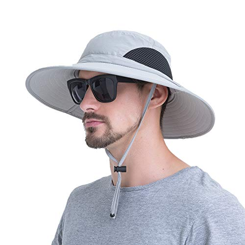 (YR.Lover.Outdoor Boonie Men and Women's Hat - Sun Protection Wide Brim Waterproof Cap for Safari Fishing Hunting Summer Bucket Hat)