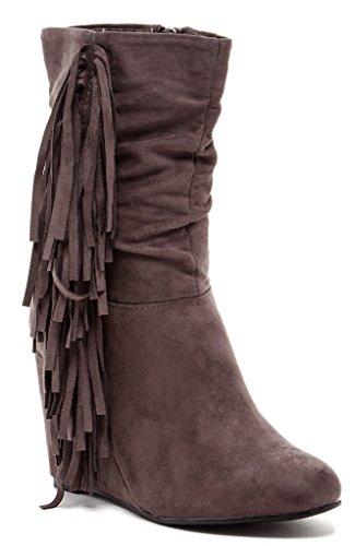 Bucco Noalanda Womens Fashion Fringed Wedge Boots, Grey, Size 8.5, US